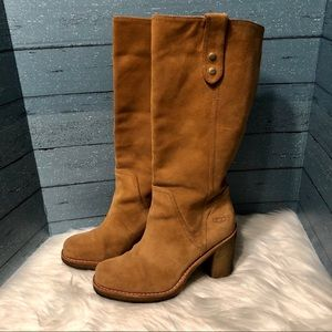 Ugg tan suede boots with rubber heels
